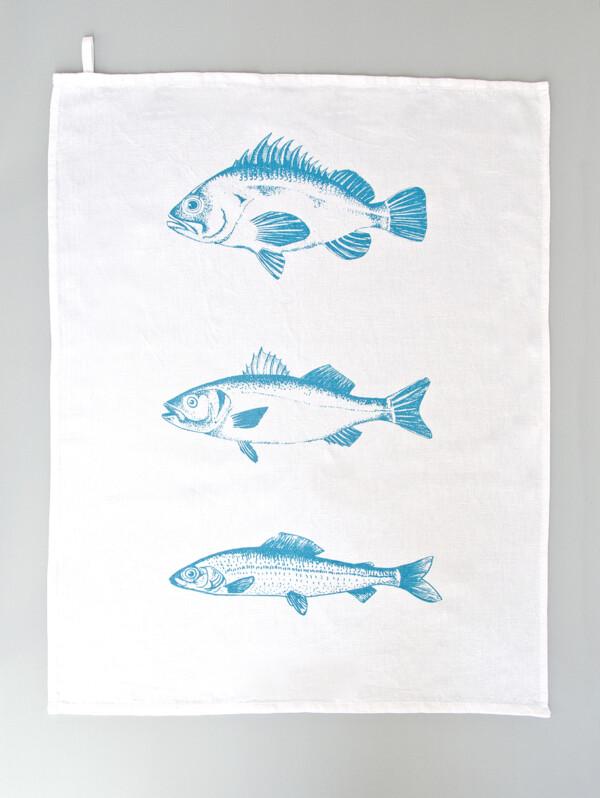 Illustration und Siebdruck – Geschirrtuch türkis