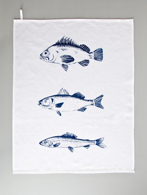 Illustration und Siebdruck – Geschirrtuch dunkelblau